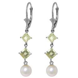 Genuine 6.5 ctw Pearl & Aquamarine Earrings Jewelry 14KT White Gold - REF-45F8Z