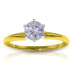Genuine 0.40 ctw Diamond Anniversary Ring Jewelry 14KT Yellow Gold - REF-123V3W