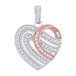 0.20 CTW Diamond Heart Milgrain Pendant 10KT Two-tone Gold - REF-19H4M