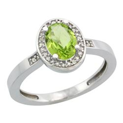 Natural 1.08 ctw Peridot & Diamond Engagement Ring 14K White Gold - REF-31H3W
