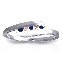 Genuine 0.25 ctw Sapphire & Diamond Ring Jewelry 14KT White Gold - REF-32X4M