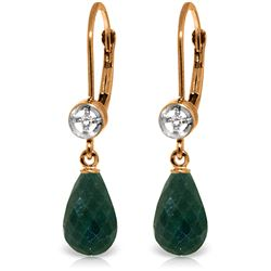 Genuine 6.63 ctw Green Sapphire Corundum & Diamond Earrings Jewelry 14KT Rose Gold - REF-29X7M