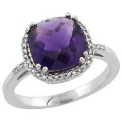 Natural 4.11 ctw Amethyst & Diamond Engagement Ring 14K White Gold - REF-44W2K