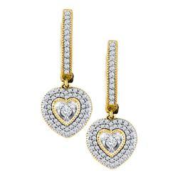0.75 CTW Diamond Heart Dangle Earrings 10KT Yellow Gold - REF-67W4K