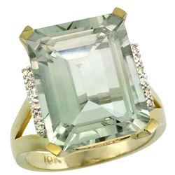 Natural 12.13 ctw Green-amethyst & Diamond Engagement Ring 10K Yellow Gold - REF-55G8M