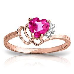 Genuine 0.97 ctw Pink Topaz & Diamond Ring Jewelry 14KT Rose Gold - REF-30W3Y