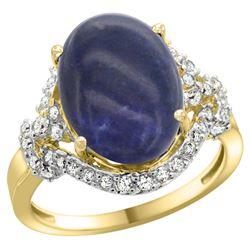 Natural 4.91 ctw lapis-lazuli & Diamond Engagement Ring 14K Yellow Gold - REF-83N2G