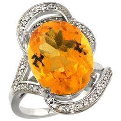 Natural 11.23 ctw citrine & Diamond Engagement Ring 14K White Gold - REF-104Z5Y