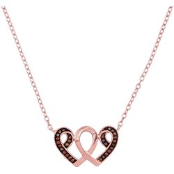 0.10 CTW Red Color Diamond Heart Awareness Ribbon Pendant 10KT Rose Gold - REF-18H2M