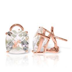 Genuine 7.2 ctw White Topaz Earrings Jewelry 14KT Rose Gold - REF-46F5Z