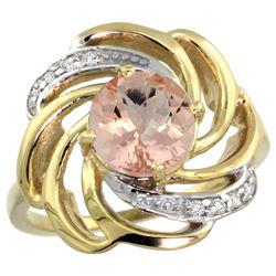 Natural 1.75 ctw morganite & Diamond Engagement Ring 14K Yellow Gold - REF-70M5H