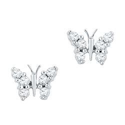 0.20 CTW Diamond Butterfly Stud Earrings 10KT White Gold - REF-18H2M