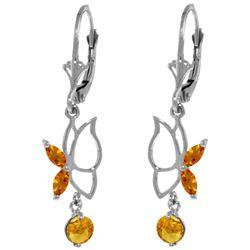 Genuine 0.80 ctw Citrine Earrings Jewelry 14KT White Gold - REF-38Y2F