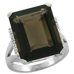 Natural 12.13 ctw Smoky-topaz & Diamond Engagement Ring 14K White Gold - REF-71F2N