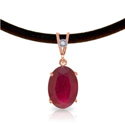 Genuine 7.71 ctw Ruby & Diamond Necklace Jewelry 14KT Rose Gold - REF-84Y2F