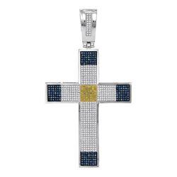 1.78 CTW Mens Blue & Yellow Color Diamond Roman Cross Charm Pendant 10KT White Gold - REF-104F9N