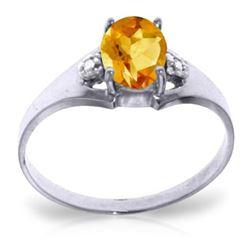 Genuine 0.76 ctw Citrine & Diamond Ring Jewelry 14KT White Gold - REF-20P8H