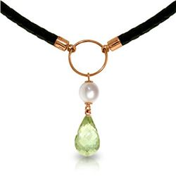 Genuine 7.5 ctw Green Amethyst & Pearl Necklace Jewelry 14KT Rose Gold - REF-52M9T