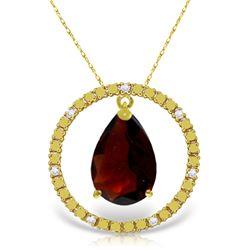 Genuine 6.6 ctw Garnet & Diamond Necklace Jewelry 14KT Yellow Gold - REF-52X9M