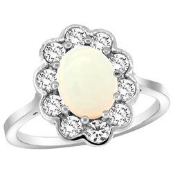 Natural 1.64 ctw Opal & Diamond Engagement Ring 14K White Gold - REF-81W3K