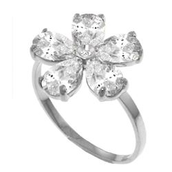 Genuine 2.22 ctw White Topaz & Diamond Ring Jewelry 14KT White Gold - REF-35R9P