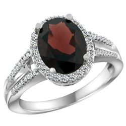 Natural 2.72 ctw garnet & Diamond Engagement Ring 14K White Gold - REF-57R2Z