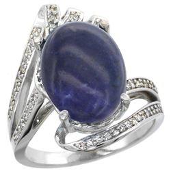 Natural 4.78 ctw lapis-lazuli & Diamond Engagement Ring 14K White Gold - REF-87K3R
