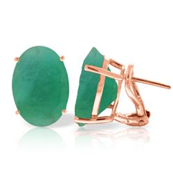 Genuine 13 ctw Emerald Earrings Jewelry 14KT Rose Gold - REF-160V9W