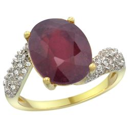 Natural 5.65 ctw ruby & Diamond Engagement Ring 14K Yellow Gold - REF-60A3V