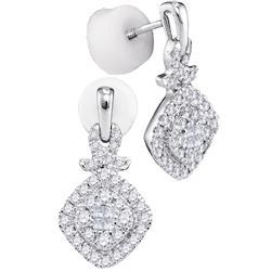 0.47 CTW Princess Diamond Soleil Square Cluster Dangle Earrings 14KT White Gold - REF-57X2Y