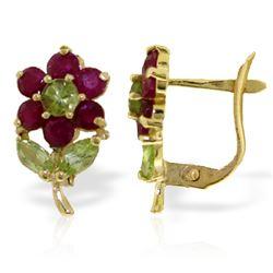 Genuine 2.12 ctw Peridot & Ruby Earrings Jewelry 14KT Yellow Gold - REF-40R5P