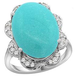 Natural 13.83 ctw turquoise & Diamond Engagement Ring 14K White Gold - REF-160V3F