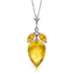 Genuine 10 ctw Citrine Necklace Jewelry 14KT White Gold - REF-28A9K