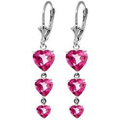 Genuine 6 ctw Pink Topaz Earrings Jewelry 14KT White Gold - REF-68N4R