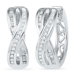 0.25 CTW Diamond Two Row Crossover Hoop Earrings 10KT White Gold - REF-25W4K