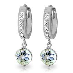 Genuine 2.28 ctw Aquamarine & Diamond Earrings Jewelry 14KT White Gold - REF-56T2A