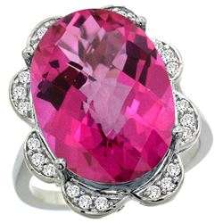 Natural 13.83 ctw pink-topaz & Diamond Engagement Ring 14K White Gold - REF-124F4N