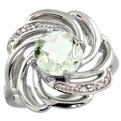 Natural 2.25 ctw green-amethyst & Diamond Engagement Ring 14K White Gold - REF-57M8H