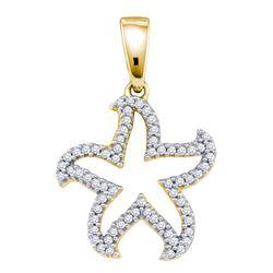 0.20 CTW Diamond Star Pendant 10KT Yellow Gold - REF-14H9M