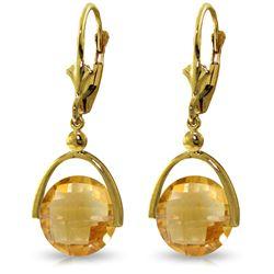 Genuine 6.5 ctw Citrine Earrings Jewelry 14KT Yellow Gold - REF-43R4P