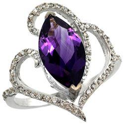 Natural 3.33 ctw Amethyst & Diamond Engagement Ring 14K White Gold - REF-77R5Z