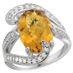 Natural 6.22 ctw quartz & Diamond Engagement Ring 14K White Gold - REF-129N4G