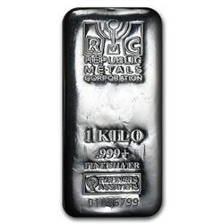 Genuine 1 kilo 0.999 Fine Silver Bar - Republic Metals Corp