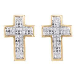 0.20 CTW Diamond Cross Earrings 10KT Yellow Gold - REF-19K4W