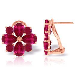 Genuine 4.85 ctw Ruby Earrings Jewelry 14KT Rose Gold - REF-71Z8N