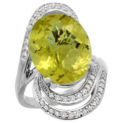 Natural 11.2 ctw lemon-quartz & Diamond Engagement Ring 14K White Gold - REF-89R9Z