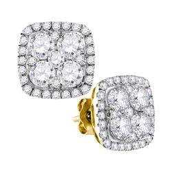 2.6 CTW Diamond Square Cluster Earrings 10KT Yellow Gold - REF-299H9M