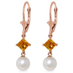 Genuine 5 ctw Pearl & Citrine Earrings Jewelry 14KT Rose Gold - REF-29A7K