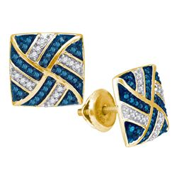 0.25 CTW Blue Color Diamond Square Pinwheel Cluster Earrings 10KT Yellow Gold - REF-22N4F