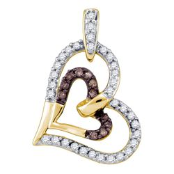 0.30 CTW Cognac-brown Color Diamond Heart Love Pendant 10KT Yellow Gold - REF-26M9H